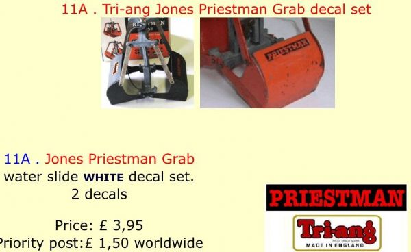 11A . Tri-ang Jones Priestman Grab decal set
